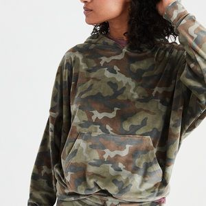 American Eagle Cozy Ever After Velvet Camo Hoodie